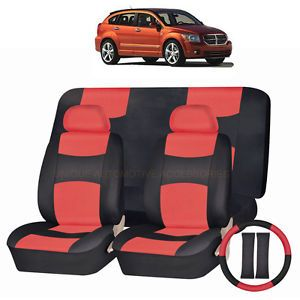 Dodge Avenger Journey PU Leather Red Black Semi Custom Seat Covers 11pc Set