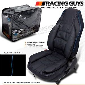 Nissan Toyota Mazda Black Blue Neon Stripe VIP Style PCV Leather Car Seat Cover