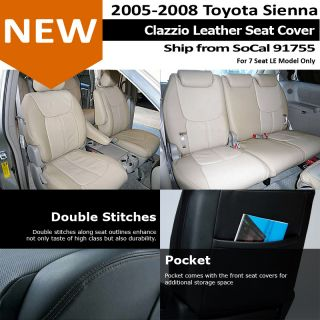 Clazzio Custom Perfect Fit Leather Seat Cover Black 05 08 Toyota Sienna Le