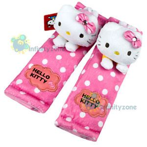 Sanrio Hello Kitty Plush Doll Safely Car Truck Seat Belt Cover One Pair