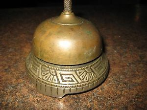 Antique Wind Up Call Bell Brass Hotel Front Desk General Store Buzzer Ringer