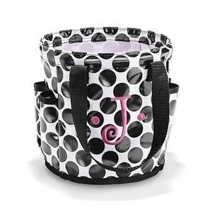 Thirty One Round About Caddy Cosmetic Utility Tote Bag Black Spotty Dot 31 Vie
