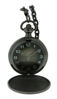 Brushed Gun Metal Pocket Watch and Chain Full Hunter Case