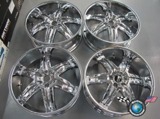 "Four Dub 24"" Illusions Chrome Chevy Cadillac GMC Wheels Rims 30mm 24x9 5"
