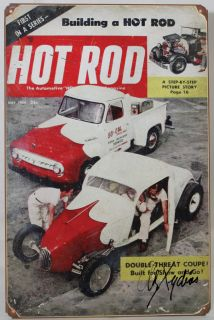 So Cal Tin Sign Coupe Hot Rod Magazine Signed Alex Xydias Old Vtg Style Garage