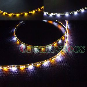 "2X 30cm 12"" Car 30leds SMD Side Emitting LED Strip Light Turn Light White Yellow"