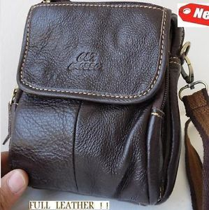 Genuine Leather Shoulder Camera Bag Vintage Small Man Woman Strip Pouch Dark Hip