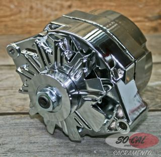 Chrome Alternator 90 Amp Chevy GM Hot Rod Rat Street Old School Vtg Style Custom