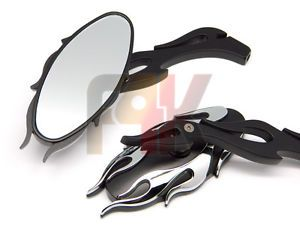 Black Custom Flame Rearview Mirrors for Yamaha V Star Max Virago XV XVS Warrior