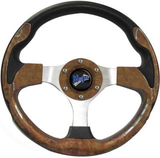 "Golf Cart Steering Wheel w Hub Adapter Yamaha Drive Wood Grain 13"" Ultra"