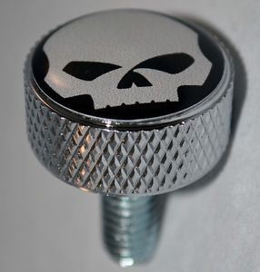 "Chrome Billet Aluminum ""Willie G Skull"" Knurled Seat Bolt for 1996 2013 Harley"