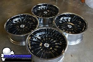 "22"" BMW 7 Series 6 Series asanti AF125 Chrome Black Staggered Wheels Rims"