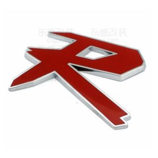 3D Red Silver Logo R Chrome Emblem for Chevrolet Ford Car Audi VW Sticker Decal