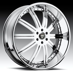"22"" Dub 3 Piece Type 27 Chrome Wheel Set Custom Forged Rims 5 6 Lug Vehicles"