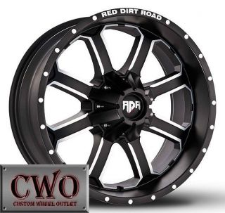 18 Black Rdr Dirt Wheels Rims 8x165 1 8 Lug Chevy GMC 2500HD Dodge RAM 2500 CWO