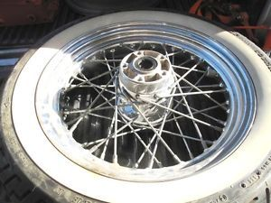 "WOW Harley Davidson Chrome Front Rear 16"" Softail Spoke Wheel FLSTN FLST"