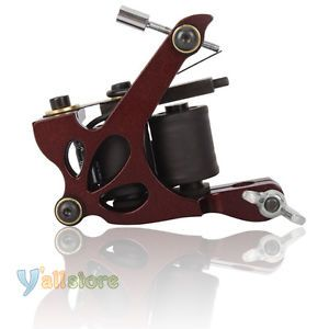 New Aluminum Alloy 10 Wrap Coils Tattoo Machine Shader Gun Burgundy Y 02