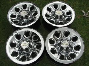 "Factory Chevy Silverado GMC Sierra 17"" Chrome Steel Wheels Rims Caps"