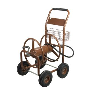 Tahoe 50204169 300 ft Heavy Duty Brown Outdoor Garden Water Hose Reel Cart