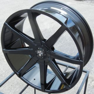 "24x9 5"" Black Dub Push Wheels Rim Escalade Silverado GMC Sierra Ford Expedition"