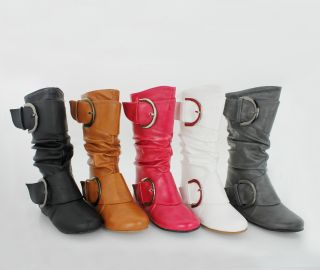 New Youth Girls Flat Mid Calf Slouch Boots Little Kids Boot w Fashion Buckles