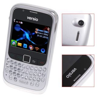 Versio Sunrise Dual Sim WiFi Cell Phone Front Back Camera QWERTY GPRS GSM Sliver
