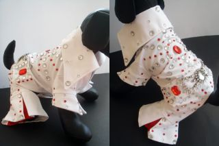 Dog Clothes Pet Dress Shirt Coat Jumper Costume Elvis Presley Sz 4 Hand Made