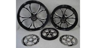 Custom Black Billet Wheels for Harley Touring Bagger