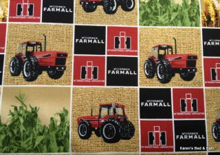 Farmall International Red Tractor Feedsack Corn Farm on Sacking Patch Valance