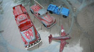 Lot Hubley Kiddie Toy Fire Truck 468 Stake 460 Tootsietoy Snow Plow Jeep Parts