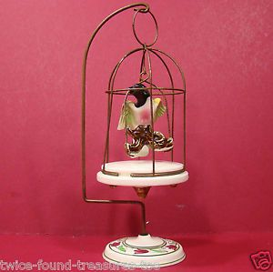Vintage Wales Japan Dollhouse Miniature Brass Hanging Bird Cage w Porcelain Bird