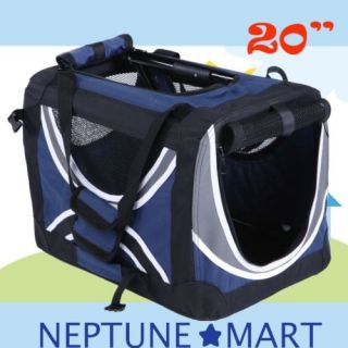 "Neptune 20""Blue Pet Dog Carrier Travel Bag Crate Cat Tote Cage Folding Kennel 08"