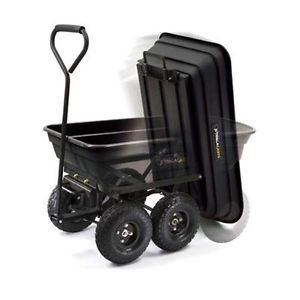 600 Capacity Heavy Duty Garden Dump Cart Plastic Utility Padded Handle Carts