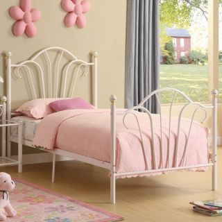 New Elegant Youth Kids Girls White Durable Metal Princess Twin Bed with 15 Slats