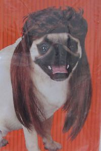 New Pet Dog Costume Brown Mullet Wig One Size NIP