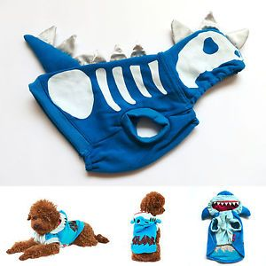 Shark Skull Dog Costume Blue Dog Hoodie Coat Pet Apparel Dog Clothes XS s M L XL