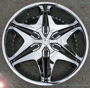 "Akuza Big Papi 712 24"" Chrome Rims Wheels Nissan Titan Truck"