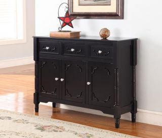 Kings Brand Black Finish Wood Console Sideboard Table with Drawers Storage New