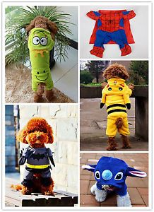 Pet Dog Puppy Costume Superman Batman Rabbit Frog Pikachu Cosplay Outfit