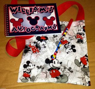 Personalized Disney Mickey Minnie Mouse Autograph Book Matching Bag Pen New