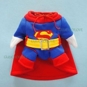 "11""Chest Funny Superman Dog Costumes Small Dog Clothes Pet Coat Cat Dress Outfit"