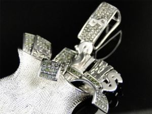 Mens White Gold Finish Green Diamond Money Bag Pendant Charm