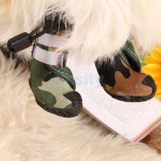 Cool Camo Camouflage Style Pet Dog Cat Puppy Boots Shoes Size 1