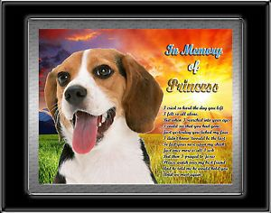 Pet Memorial Beagle Dog Personalized with Your Dog's Name Heavenly Sunrise Poem