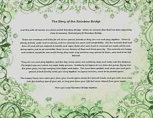 Pet Memorial Ornate Green The Story of The Rainbow Bridge Poem