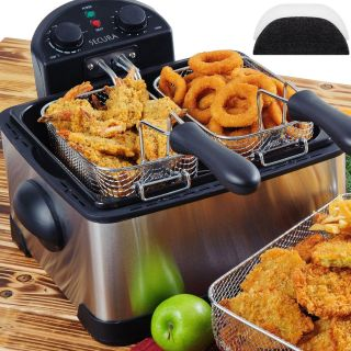 Secura 4 2L 17 Cup 1700 Watt Stainless Steel Triple Basket Electric Deep Fryer