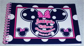 Personalized Disney Pink Black Polka Dot Minnie Mouse Autograph Book Bag Pen