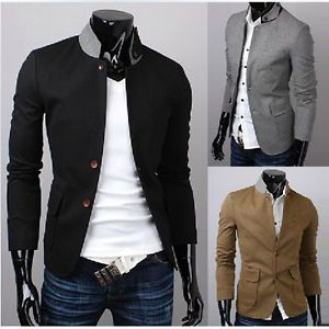 New Casual Mens Blazer Business Suits Slim Fit Two Button Coat Free SHIP E976