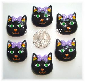 6pc Halloween Black Cat Candy Corn Resin Flat Back Flatback 4 Hairbow Center