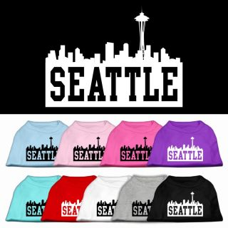 Dog Pet Puppy Seattle Skyline Screen Tee Shirt Clothes Apparel Pajamas 9 Colors
